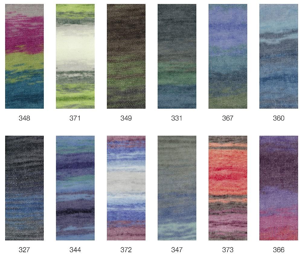 Nadelstärke 4,5-5 50g Lana Grossa Silkhair Print 366 LL 400m